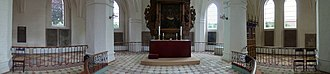 Church of Our Lady, Assens - Interior panorama showing the chancel, altar and altar piece