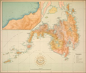 An old map of Mindanao from the Atlas of the Philippine Islands (1900). Atlas of the Philippine Islands (1900) (14585692528).jpg