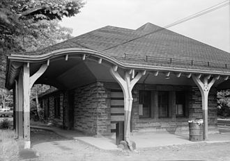 Framingham/Worcester Line - This 1881-built depot at Auburndale, designed by H. H. Richardson, was torn down in 1961 to make room for the Massachusetts Turnpike