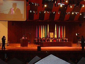 Aula Magna (Central University of Venezuela) - A graduation ceremony below the folded wooden ceiling