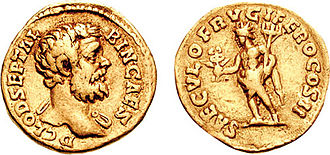 "Year of the Five Emperors - Coin of Clodius Albinus. This coin celebrates Saeculum Frugiferum, the embodiment of a ""fruitful era"", probably Ba'al Hammon, a Phoenician divinity worshipped in North Africa, from whence Clodius came."