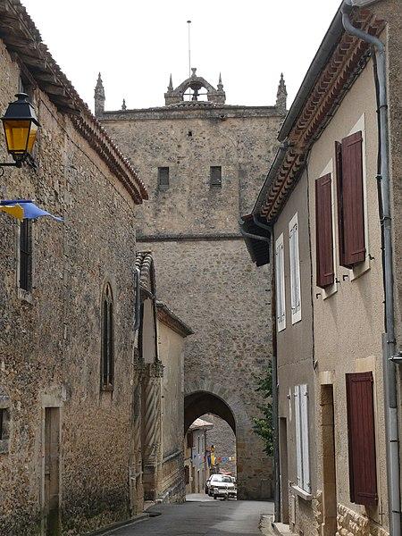 The clock tower of Aurignac (Haute-Garonne, Midi-Pyrénées, France).