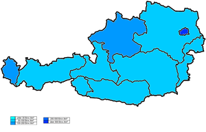 Demographics of Austria - Population density per state.