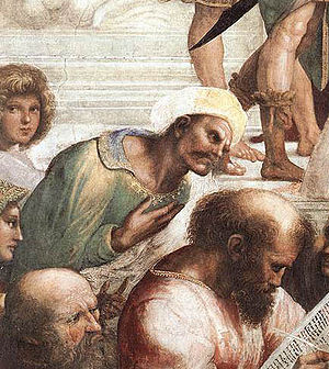 "History of medieval Tunisia - Ibn Rushd of Córdoba, detail from the fresco ""School of Athens"" by Raphael"