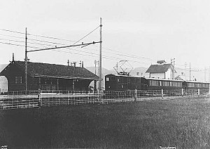 Thamshavn Line - Passenger train at Bårdshaug Station in 1912