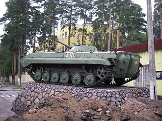 BMP-1 - Rear view of a plinthed BMP-1 in Lebyazhye, Lomonosovsky District, Leningrad Oblast