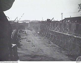 Cairncross Dockyard - Looking towards the entrance during drydock construction, circa 1942