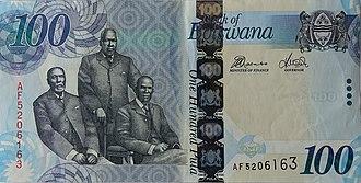 Botswana pula - Image: BWP100v