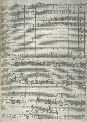 Jesus nahm zu sich die Zwölfe, BWV 22 - Page of the manuscript showing the end of movement 1 and the beginning of the following aria