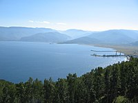 Western end of Lake Baikal with mountains in the distance