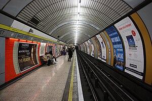 A platform at Baker Street tube station in London.