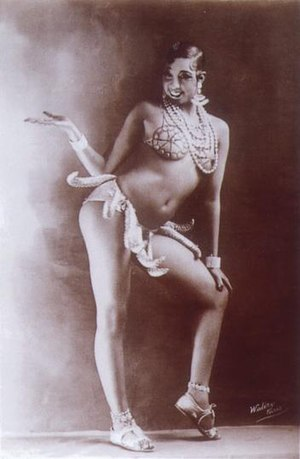 "Striptease - Josephine Baker in her ""girdle of bananas"" outfit, first seen in the Folies Bergère show La Folie du Jour in 1926-27."