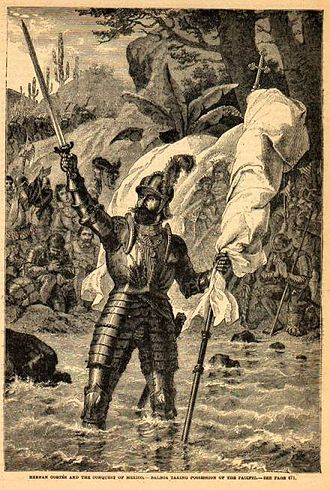 Vasco Núñez de Balboa - Balboa claiming possession of the South Sea (19th century engraving by unknown artist)