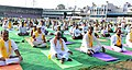 Bandaru Dattatreya performing Yoga along with other participants, on the occasion of the 2nd International Day of Yoga – 2016, organised by the Patanjali Yog Samithi and Bharath Swabhiman Trust, at LB Stadium, Hyderabad.jpg