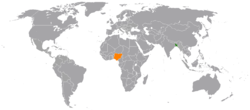 Map indicating locations of Bangladesh and Nigeria