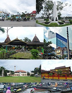 From top, left to right: Kayu Tangi roundabout, Proclamation monument of South Kalimantan, Sultan Suriansyah tomb complex, Hotel G-Sign of Banjarmasin, Sabilal Muhtadin Great Mosque, Soetji Nurani (EYD: Suci Nurani) Temple, and Traditional Floating Market of Kuin River.