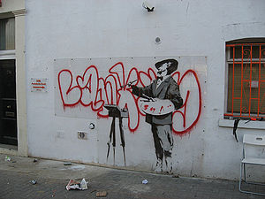 English: Banksy Art work on Portobello Post