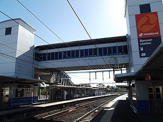 Banoon railway station - Northbound view from Platform 1 in July 2012