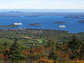 Aerial photograph of Bar Harbor, Maine, the real life locale Far Harbor is based on.