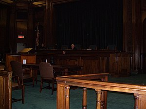 Admission to the bar in the United States - the bar (railing) at the Rhode Island Supreme Court