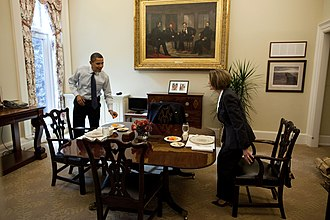 The Peacemakers - Painting in its current location within the Oval Office Dining Room. Pictured here are Barack Obama and Nancy Pelosi.