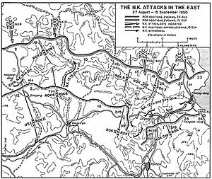 The Great Naktong Offensive - North Korean attacks on the Kyoongju corridor, August 27 – September 15, 1950.