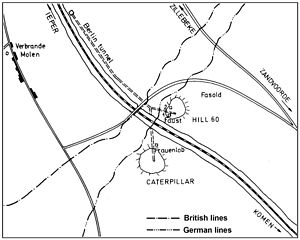 3rd Canadian Tunnelling Company - Plan of the two deep mines placed at Hill 60 before the Battle of Messines