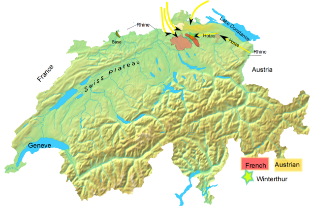 Hotze's troops arrived in the morning at the outskirts of Winterthur and immediately attacked Ney's position. By afternoon, his troops had joined those of Nauendorf and Archduke Charles, marked in yellow. Battle of Winterthur details.png