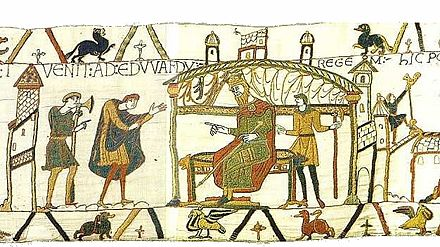 Harold meeting Edward shortly before his death, depicted in scene 25 of the Bayeux Tapestry BayeuxTapestryScene25.jpg