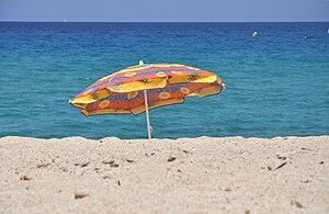 English: A Beach umbrella in Corsica