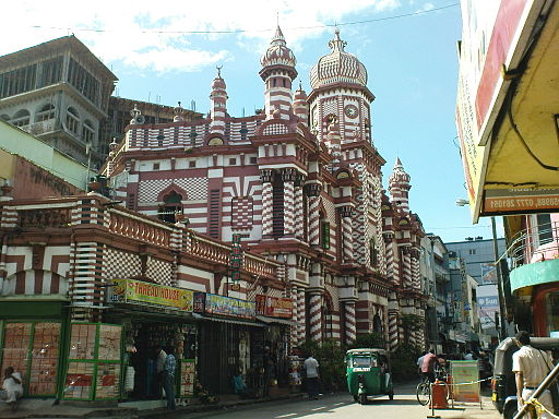 Beautiful Landmark Muslim Mosque in Colombo, Sri Lanka