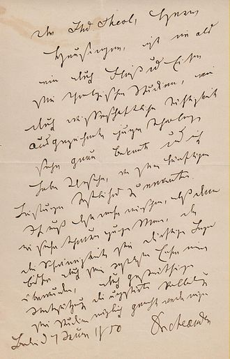 August Neander - Neander's own handwritten letter