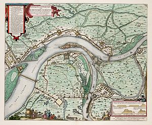 Schenkenschanz - Schenkenschans fortress in 1635/36, by Jacobus Schort; North is at the bottom, so the Rhine flows from left to right