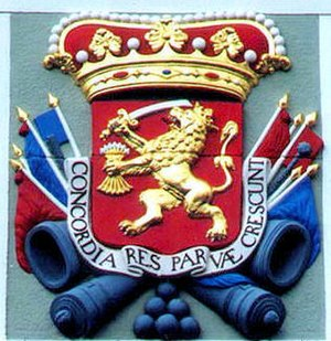 "Politics and government of the Dutch Republic - Coat of arms of the States-General of the United Provinces(""States""/Staten) of the Netherlands. The lion with the arrows, sword, and crown are now part of the Coat of arms of the Netherlands."
