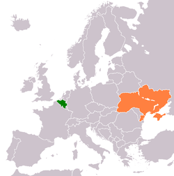 Map indicating locations of Belgium and Ukraine