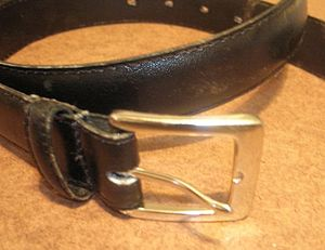 Belt buckle - Frame-style buckle: A conventional belt buckle with single square frame and prong