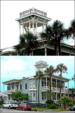 Widow's walk - Julius Ruhl Home. One of many homes in Galveston, Texas with widow's walks.