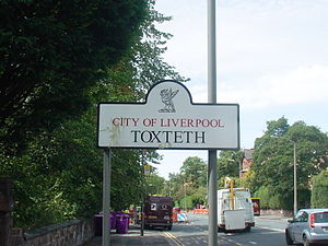 Toxteth - Image: Benkid 77 Toxteth sign 060809