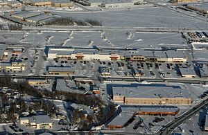 Bentley Mall - Aerial photo showing Bentley Mall, northernmost enclosed shopping mall in North America.  Photo by Beverly Demientieff, February 2009