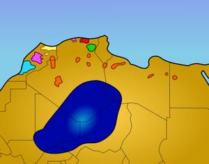 Verspreiding van de Berbers in Noordwest Afrika