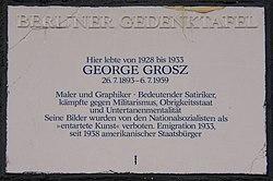 Photo of George Grosz white plaque