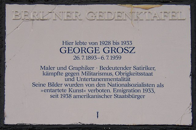 Photo of George Grosz white plaque