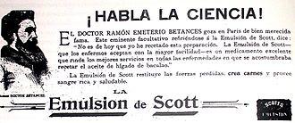 Ramón Emeterio Betances - An 1895 newspaper ad that has Betances endorsing Emulsión de Scott