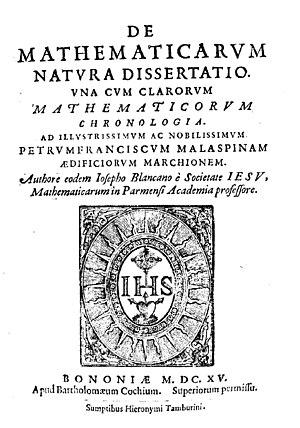 Giuseppe Biancani - De mathematicarum natura dissertatio, 1615