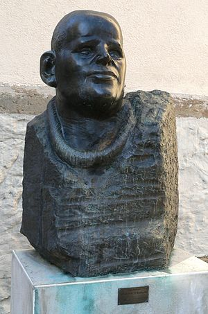 Alfred Hrdlicka - Bronze sculpture of Dietrich Bonhoeffer, at a side entrance of the Stadtkirche church, Germany