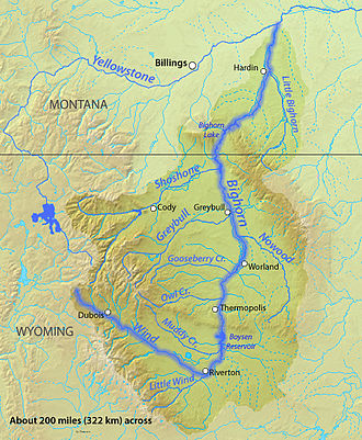 Shoshone River - Image: Bighornrivermap