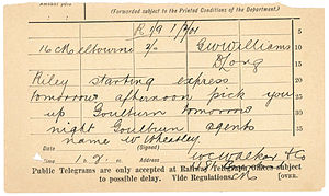 History of telegraphy in Australia - A telegram slip from Binalong telegraph office from February 1901
