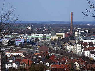 Bielefeld Hauptbahnhof - Station (centre), central post office (right), new station district  (left), municipal utility (including power station) and Miele company (behind), Ostwestfalendamm expressway (in front)