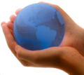 Blue Earth in Child's Hands (transparent).png