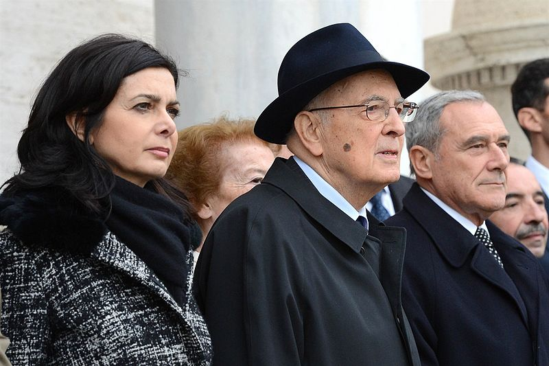 From left to right: Laura Boldrini, Giorgio Napolitano and Pietro Grasso. Photo by Jaqen on wikimedia.org